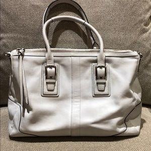 Coach white leather bag- satchel